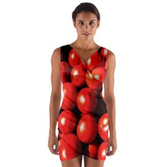 Pile Of Red Tomatoes Wrap Front Bodycon Dress by FunnyCow