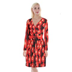 Pile Of Red Tomatoes Long Sleeve Velvet Front Wrap Dress by FunnyCow