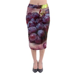 Red And Green Grapes Midi Pencil Skirt by FunnyCow