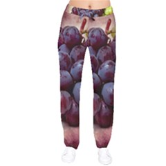 Red And Green Grapes Velvet Drawstring Pants by FunnyCow