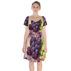 Red And Green Grapes Short Sleeve Bardot Dress by FunnyCow