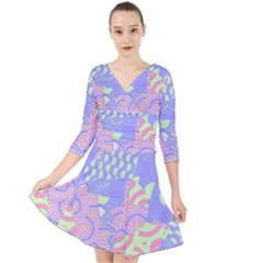 Summer Fun Geometric Pattern Quarter Sleeve Front Wrap Dress by CrypticFragmentsColors