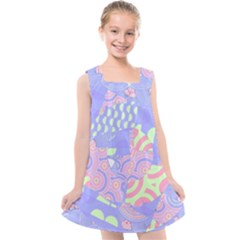 Summer Fun Geometric Pattern Kids  Cross Back Dress by CrypticFragmentsColors