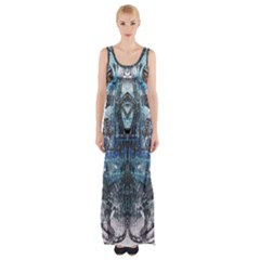 Angel Wings Blue Grunge Texture Maxi Thigh Split Dress by CrypticFragmentsDesign