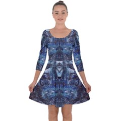 Angel Wings Blue Grunge Texture Quarter Sleeve Skater Dress by CrypticFragmentsDesign