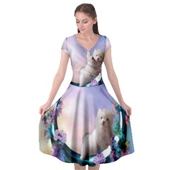 Cute Little Maltese Puppy On The Moon Cap Sleeve Wrap Front Dress by FantasyWorld7