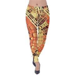 Semi Circles Abstract Geometric Modern Art Orange Velvet Leggings by CrypticFragmentsDesign