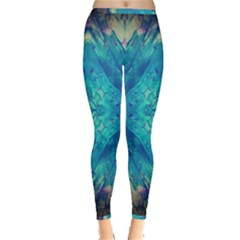 Boho Hippie Tie Dye Retro Seventies Blue Violet Inside Out Leggings by CrypticFragmentsDesign