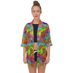 Colorful Wavy Shapes                                           Open Front Chiffon Kimono by LalyLauraFLM