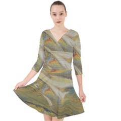 Rainbow Tornado Quarter Sleeve Front Wrap Dress by WILLBIRDWELL