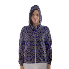 Blue Small Wonderful Floral In Mandalas Hooded Windbreaker (women)