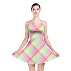 Pastel Rainbow Tablecloth Diagonal Check Reversible Skater Dress by PodArtist
