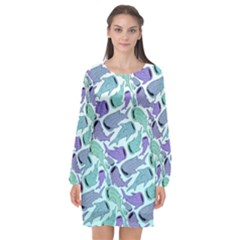 Whale Sharks Long Sleeve Chiffon Shift Dress  by mbendigo