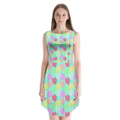 Pastel Rainbow Monstera Sleeveless Chiffon Dress   by PodArtist