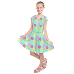 Pastel Rainbow Monstera Kids  Short Sleeve Dress by PodArtist