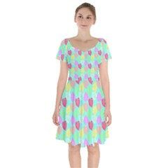 Pastel Rainbow Monstera Short Sleeve Bardot Dress by PodArtist