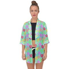 Pastel Rainbow Monstera Open Front Chiffon Kimono by PodArtist