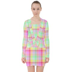 Pastel Rainbow Sorbet Ice Cream Check Plaid V Neck Bodycon Long Sleeve Dress by PodArtist