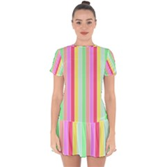 Pastel Rainbow Sorbet Deck Chair Stripes Drop Hem Mini Chiffon Dress by PodArtist