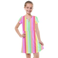 Pastel Rainbow Sorbet Deck Chair Stripes Kids  Cross Web Dress by PodArtist