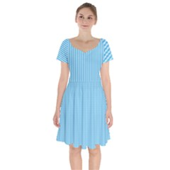 Oktoberfest Bavarian Blue Mini Houndstooth Check Short Sleeve Bardot Dress