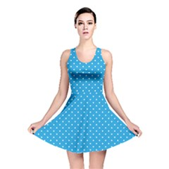 Mini White Polkadots On Oktoberfest Bavarian Blue Reversible Skater Dress by PodArtist