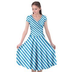 Oktoberfest Bavarian Blue And White Small Candy Cane Stripes Cap Sleeve Wrap Front Dress by PodArtist