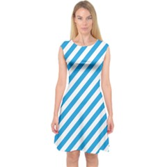 Oktoberfest Bavarian Blue And White Candy Cane Stripes Capsleeve Midi Dress by PodArtist