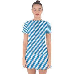 Oktoberfest Bavarian Blue And White Candy Cane Stripes Drop Hem Mini Chiffon Dress by PodArtist