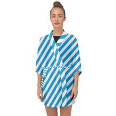 Oktoberfest Bavarian Blue And White Candy Cane Stripes Half Sleeve Chiffon Kimono by PodArtist