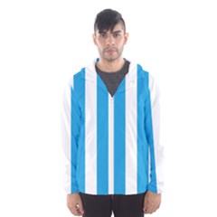 Oktoberfest Bavarian Blue And White Large Cabana Stripes Hooded Windbreaker (men) by PodArtist
