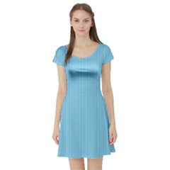Oktoberfest Bavarian Blue And White Small Gingham Check Short Sleeve Skater Dress by PodArtist