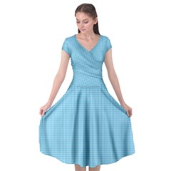 Oktoberfest Bavarian Blue And White Small Gingham Check Cap Sleeve Wrap Front Dress by PodArtist