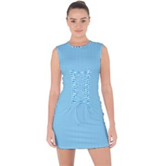 Oktoberfest Bavarian Blue And White Small Gingham Check Lace Up Front Bodycon Dress by PodArtist