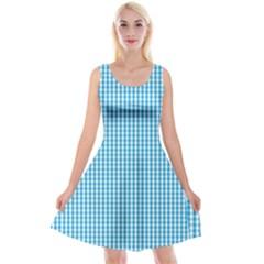 Oktoberfest Bavarian Blue And White Gingham Check Reversible Velvet Sleeveless Dress by PodArtist