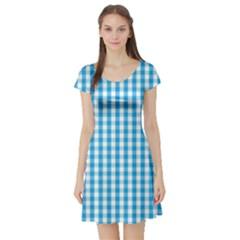 Oktoberfest Bavarian Blue And White Large Gingham Check Short Sleeve Skater Dress by PodArtist