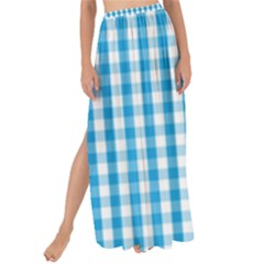 Oktoberfest Bavarian Blue And White Large Gingham Check Maxi Chiffon Tie Up Sarong by PodArtist