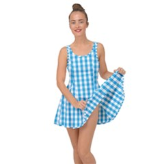 Oktoberfest Bavarian Blue And White Large Gingham Check Inside Out Casual Dress by PodArtist