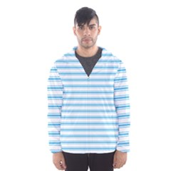 Oktoberfest Bavarian Blue And White Large Mattress Ticking Stripes Hooded Windbreaker (men) by PodArtist