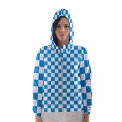 Oktoberfest Bavarian Large Blue And White Checkerboard Hooded Windbreaker (women) by PodArtist