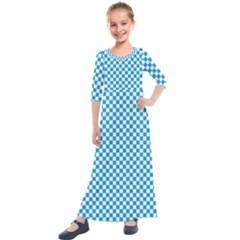 Oktoberfest Bavarian Blue And White Checkerboard Kids  Quarter Sleeve Maxi Dress by PodArtist