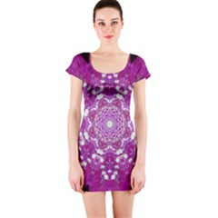 Wonderful Star Flower Painted On Canvas Short Sleeve Bodycon Dress by pepitasart