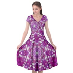 Wonderful Star Flower Painted On Canvas Cap Sleeve Wrap Front Dress by pepitasart
