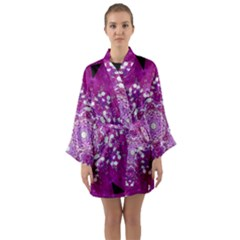 Wonderful Star Flower Painted On Canvas Long Sleeve Kimono Robe by pepitasart