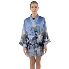 Wonderful Wild Fantasy Horse On The Beach Long Sleeve Kimono Robe by FantasyWorld7