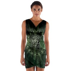 Awesome Creepy Mechanical Skull Wrap Front Bodycon Dress by FantasyWorld7
