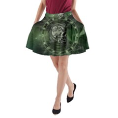 Awesome Creepy Mechanical Skull A Line Pocket Skirt by FantasyWorld7