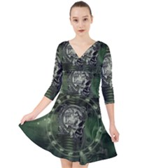 Awesome Creepy Mechanical Skull Quarter Sleeve Front Wrap Dress by FantasyWorld7