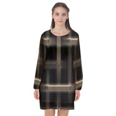 Metal Pattern Background Texture Long Sleeve Chiffon Shift Dress  by Sapixe