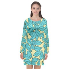 Leaves Dried Leaves Stamping Long Sleeve Chiffon Shift Dress  by Sapixe